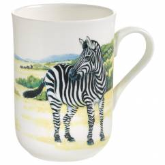 ANIMALS OF THE WORLD Becher Zebra, Bone China Porzellan, in Geschenkbox