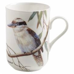 BIRDS OF AUSTRALIA Becher Kookaburra, Bone China Porzellan, in Geschenkbox