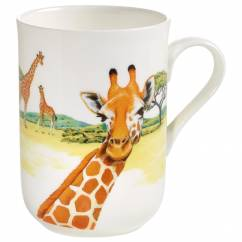 ANIMALS OF THE WORLD Becher Giraffe, Bone China Porzellan, in Geschenkbox