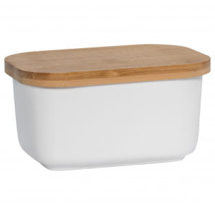 KITCHEN Butterdose mit Holzdeckel, Porzellan - Holz