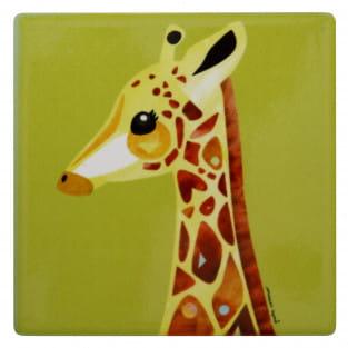 PETE CROMER Keramikuntersetzer Giraffe, Keramik - Kork