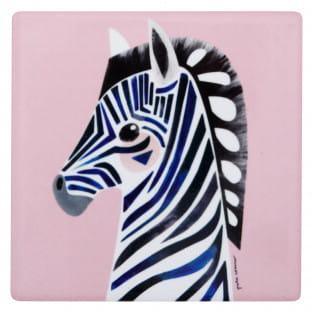PETE CROMER Keramikuntersetzer Zebra, Keramik - Kork