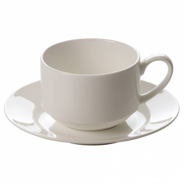 CASHMERE VILLA Tasse mit Untertasse stapelbar, 250 ml, Bone China Porzellan
