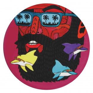 MULGA Untersetzer rund, 10,5 cm, Dolphin Man, Keramik - Kork