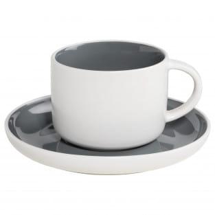 TINT Tasse mit Untertasse Dunkelgrau, Porzellan