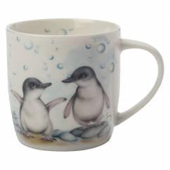 SALLY HOWELL Becher in Dose Penguins, Porzellan - Metall