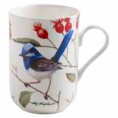 BIRDS OF AUSTRALIA Becher Prachtstaffelschwanz hell, Bone China Porzellan, in Geschenkbox