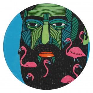 MULGA Untersetzer rund, 10,5 cm, Flamingo Man, Keramik - Kork