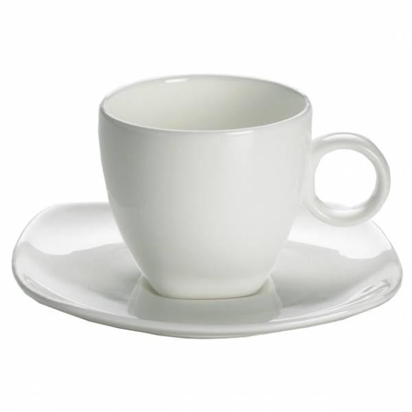 CASHMERE SQUARE Espressotasse mit Untertasse niedrig, Bone China Porzellan