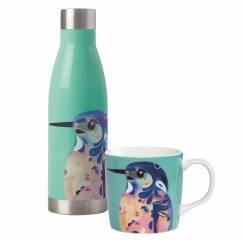 PETE CROMER Drink-Set 2-tlg., Azure Kingfisher, Edelstahl - Porzellan, in Geschenkbox