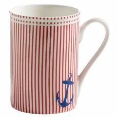 NAUTICAL Becher Rot gestreift, Bone China Porzellan, in Geschenkbox