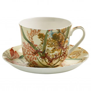 KILBURN Frühstückstasse mit Untertasse Cottage Blossom, Bone China Porzellan, in Geschenkbox
