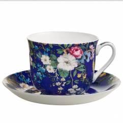 KILBURN Frühstückstasse mit Untertasse Floral Muse, Bone China Porzellan, in Geschenkbox