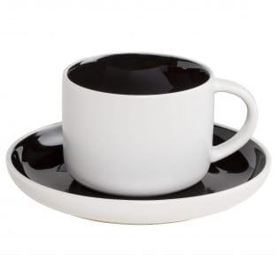 TINT Tasse mit Untertasse Schwarz, Porzellan