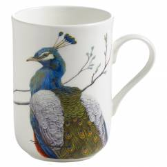 BIRDS OF THE WORLD Becher Pfau, Bone China Porzellan, in Geschenkbox