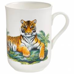 ANIMALS OF THE WORLD Becher Tiger, Bone China Porzellan, in Geschenkbox