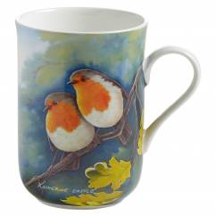BIRDS OF THE WORLD Becher Rotkehlchen, Bone China Porzellan, in Geschenkbox