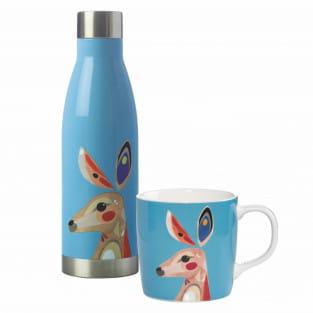 PETE CROMER Drink-Set 2-tlg., Kangaroo, Edelstahl - Porzellan, in Geschenkbox