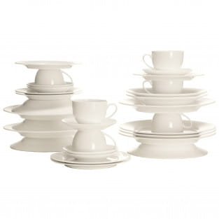 CASHMERE VILLA Kaffee- und Tafelset 30-teilig, Bone China Porzellan, in Geschenkbox