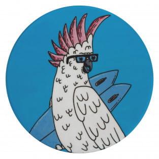 MULGA Untersetzer rund, 10,5 cm, Cockatoo, Keramik - Kork