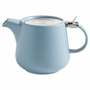 TINT Teekanne 600 ml, Hellblau, Porzellan - Edelstahl