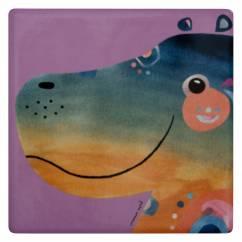 PETE CROMER Keramikuntersetzer Hippo, Keramik - Kork