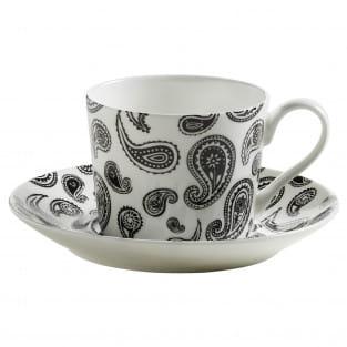 ART DECO Tasse mit Untertasse Paisley, Bone China Porzellan, in Geschenkbox
