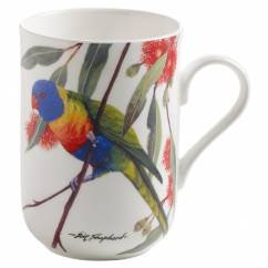 BIRDS OF AUSTRALIA Becher Breitbindenlori, Bone China Porzellan, in Geschenkbox