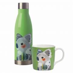 PETE CROMER Drink-Set 2-tlg., Koala, Edelstahl - Porzellan, in Geschenkbox