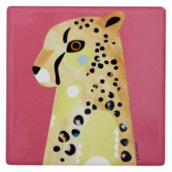 PETE CROMER Keramikuntersetzer Cheetah, Keramik - Kork