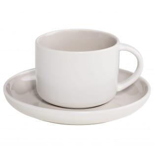 TINT Tasse mit Untertasse Hellgrau, Porzellan