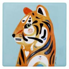 PETE CROMER Keramikuntersetzer Tiger, Keramik - Kork