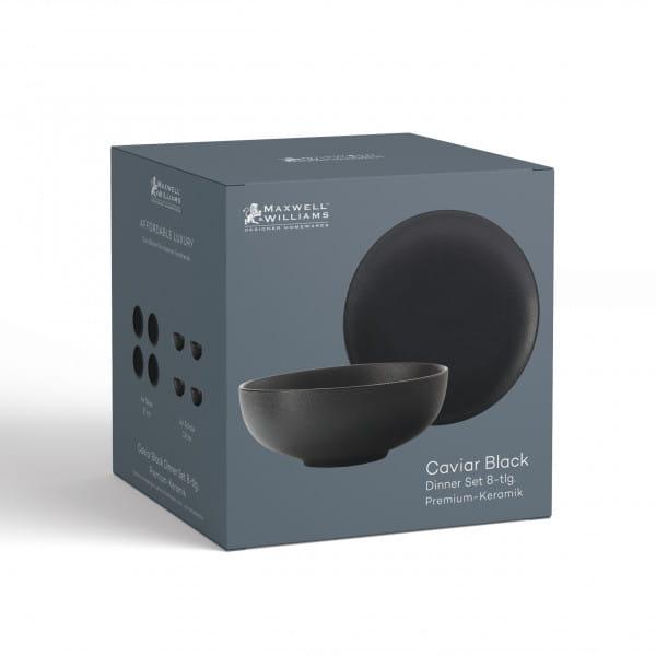 CAVIAR BLACK Dinner-Set 8-tlg., Premium-Keramik, in Geschenkbox