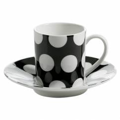 POLKA DOT Espressotasse mit Untertasse Schwarz, Porzellan
