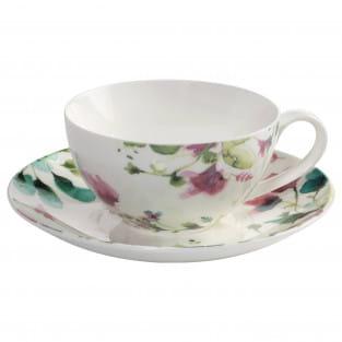 PRIMAVERA Tasse mit Untertasse, Premium-Keramik