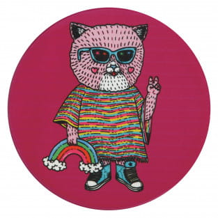 MULGA Untersetzer rund, 10,5 cm, Cat, Keramik - Kork