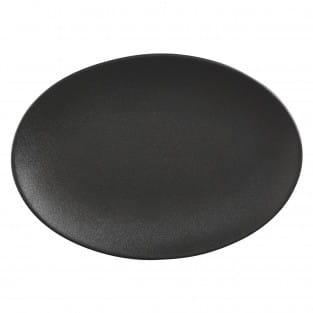 CAVIAR BLACK Platte oval, 35 x 25 cm, Premium-Keramik
