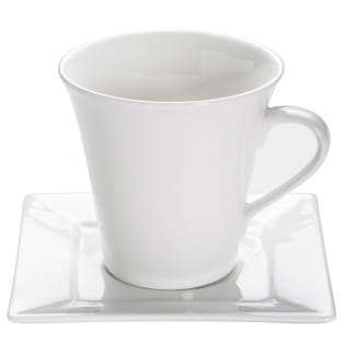 SQUARE Tasse mit Untertasse, Porzellan