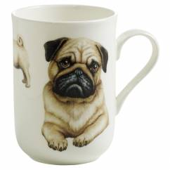 PETS Becher Mops Hund, Bone China Porzellan, in Geschenkbox